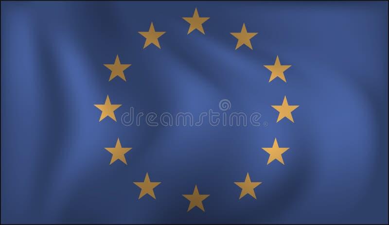 Bandera de la UE de la uni?n europea Bandera europea que agita realista ilustración del vector