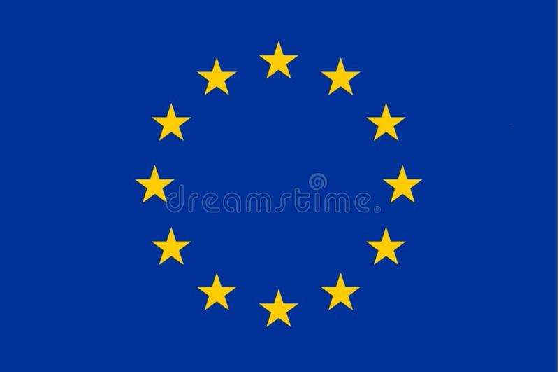 Bandera de la bandera de unión europea exacta imagenes de archivo