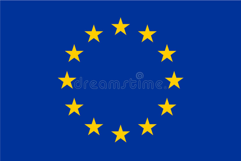 Bandera de la unión europea, UE Doce estrellas del oro en fondo azul Tamaño y colores oficiales stock de ilustración