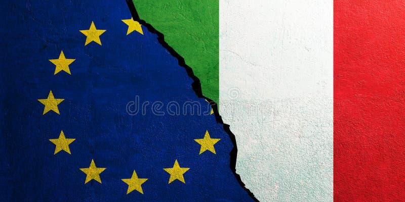 Bandera de la unión europea y de Italia, fondo agrietado de la pared ilustración 3D ilustración del vector