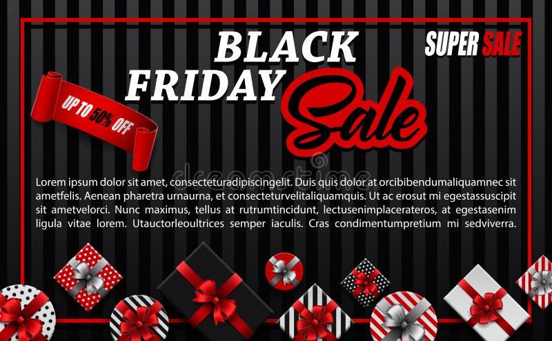 Bandera de la venta de Black Friday con diversas cajas de regalo y cinta negra en fondo negro stock de ilustración