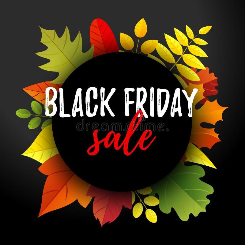 Bandera de la venta de Black Friday con la guirnalda de las hojas de otoño libre illustration