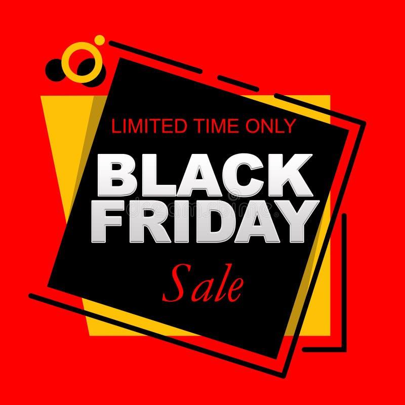 Bandera de la venta de Black Friday del tiempo limitado con el fondo rojo stock de ilustración