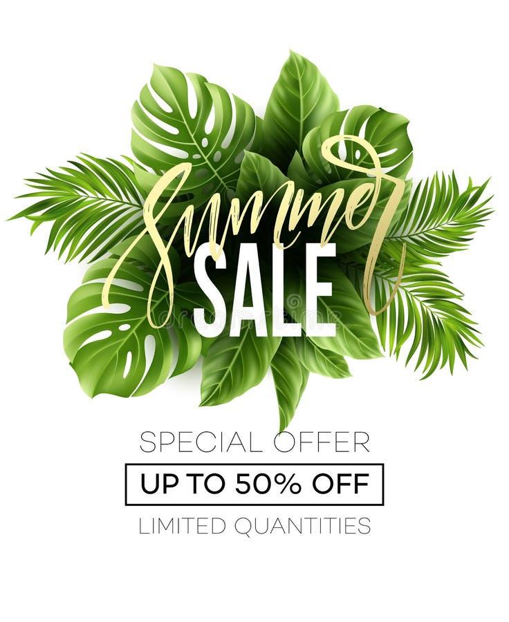 Bandera de la venta, cartel con las hojas de palma, hoja de la selva y letras de la escritura Fondo tropical floral del verano Ve stock de ilustración