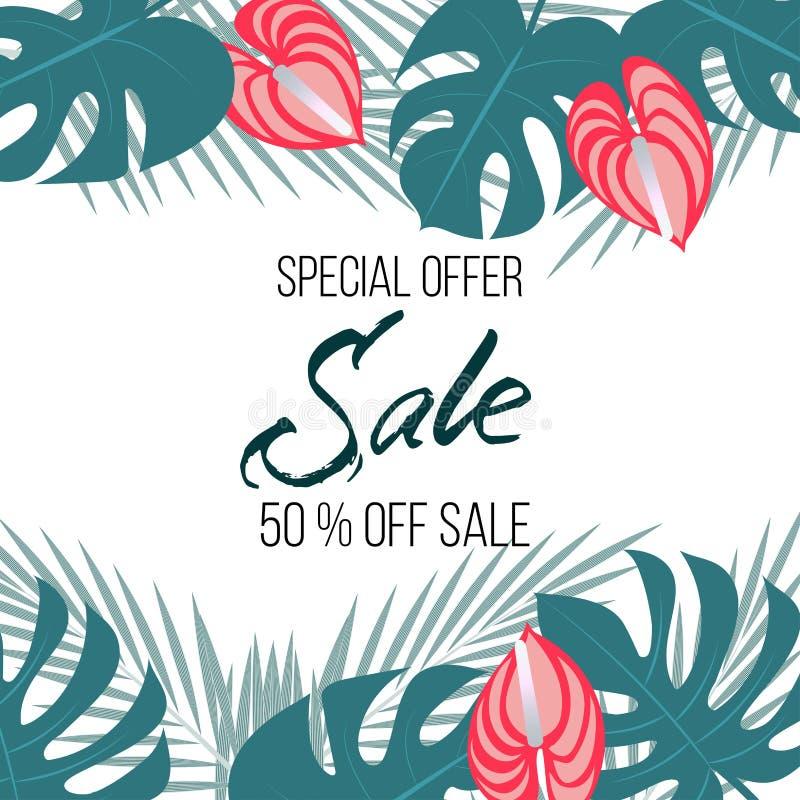 Bandera de la venta, cartel con las hojas de palma, hoja de la selva y flores más húmedas Fondo tropical floral del verano del ve ilustración del vector