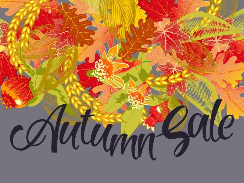 Bandera de la venta con las hojas de otoño ilustración del vector