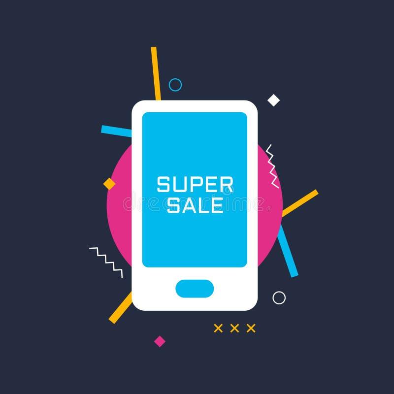 Bandera de la venta con los elementos del smartphone y del diseño Ejemplo del vector para el negocio, las impresiones y la web Im ilustración del vector