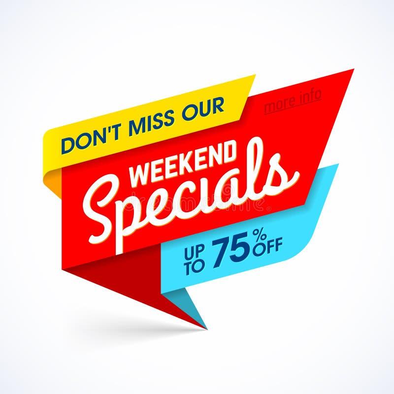 Bandera de la venta de Specials del fin de semana ilustración del vector