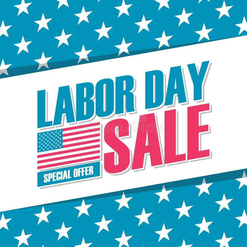 Bandera de la venta del Día del Trabajo de Estados Unidos Fondo de la oferta especial para el negocio, la promoción y la publicid libre illustration