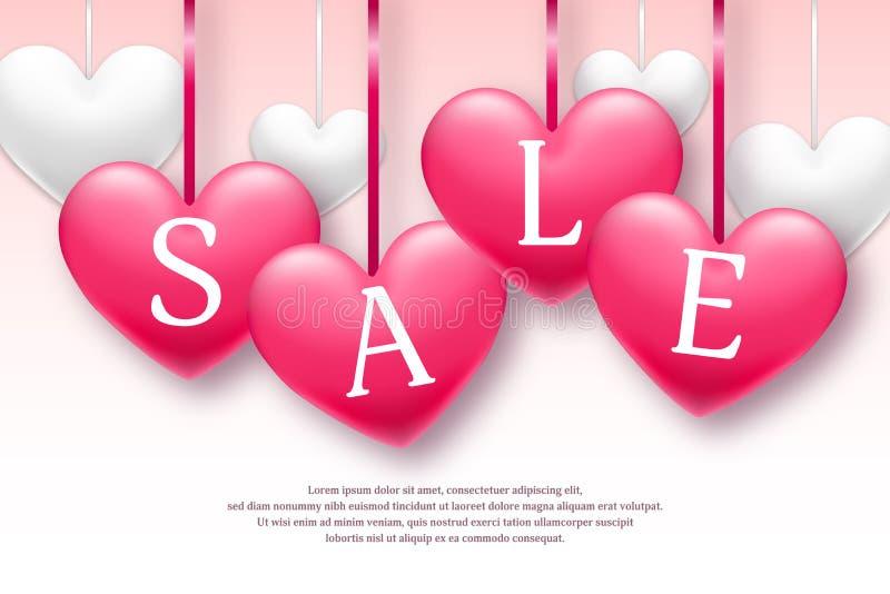 Bandera de la venta del día de fiesta del día de tarjeta del día de San Valentín con los corazones del rosa y blancos Tiempo limi stock de ilustración