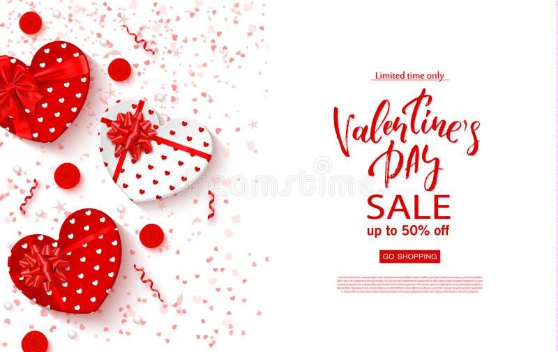 Bandera de la venta del día de tarjetas del día de San Valentín Fondo hermoso con las cajas de regalo en forma, rosas y serpentin stock de ilustración