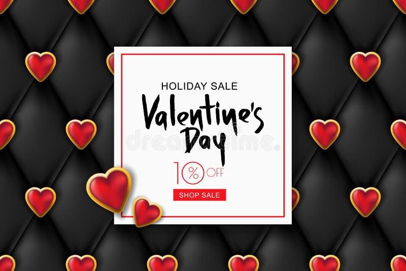 Bandera de la venta del día de tarjetas del día de San Valentín Textura de cuero negra del vector, corazones rojos Diseñe para el stock de ilustración