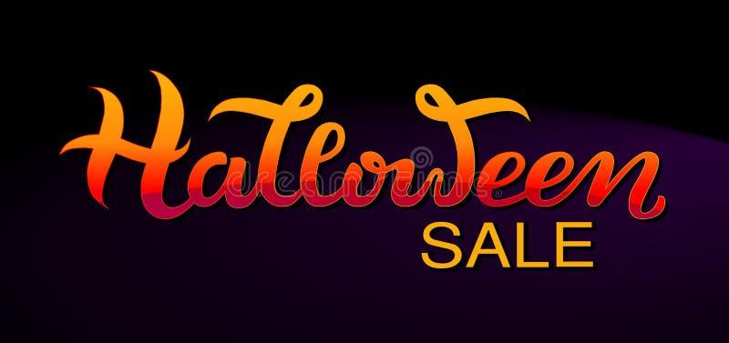 Bandera de la venta del feliz Halloween del vector, invitación La mano bosquejó las letras stock de ilustración