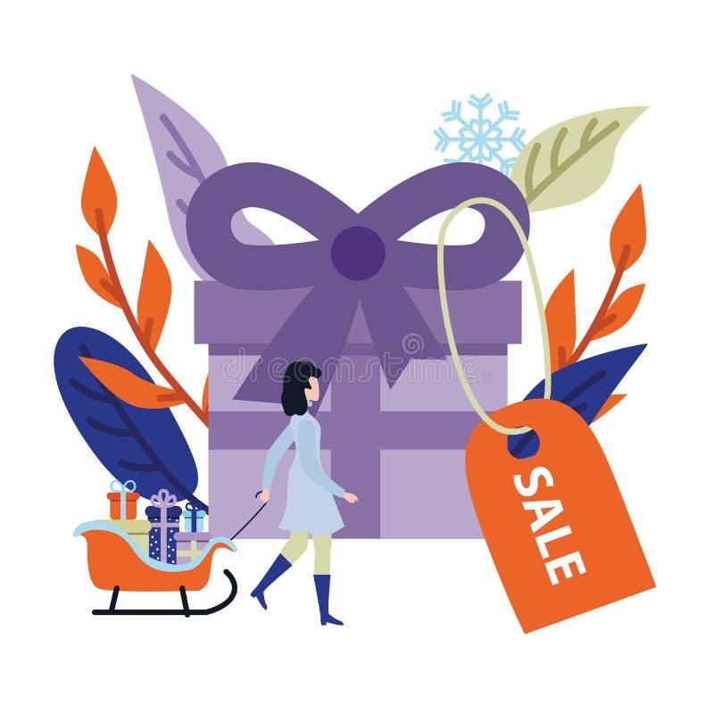Bandera de la venta del invierno o del día de fiesta con la actual caja grande y la mujer joven con la pila de regalos en trineo libre illustration
