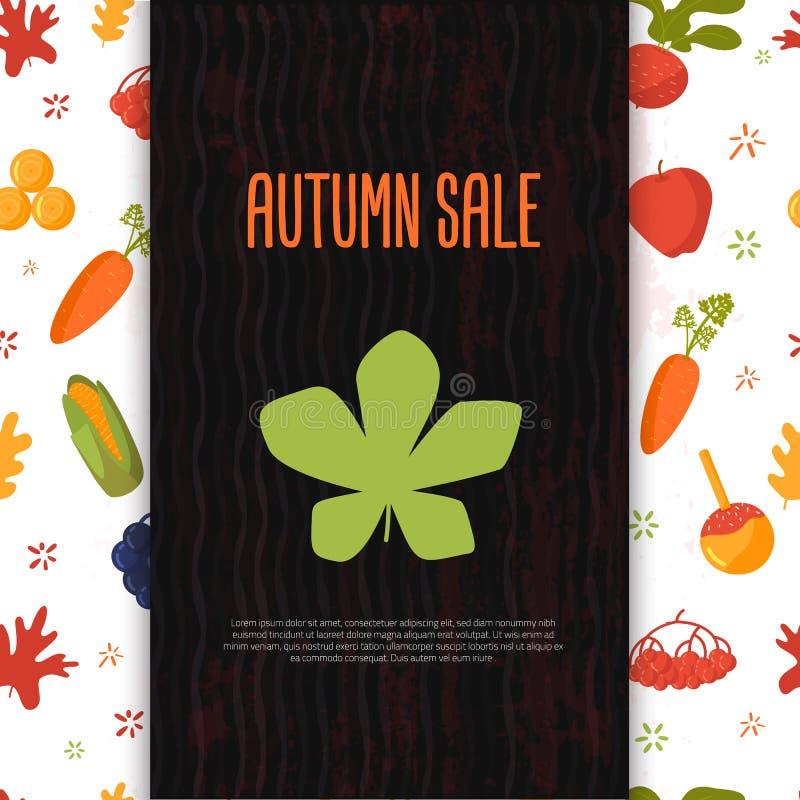 Bandera de la venta del otoño de la historieta con los objetos y los símbolos remolachas, maíz, zanahoria de la caída Promoción e stock de ilustración