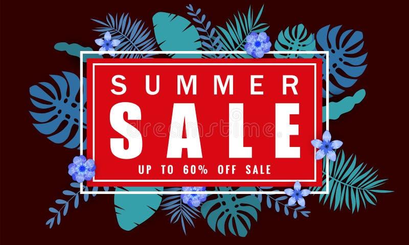 Bandera de la venta del verano con el flamenco cortado de papel y fondo tropical de las hojas, diseño floral exótico para la band libre illustration