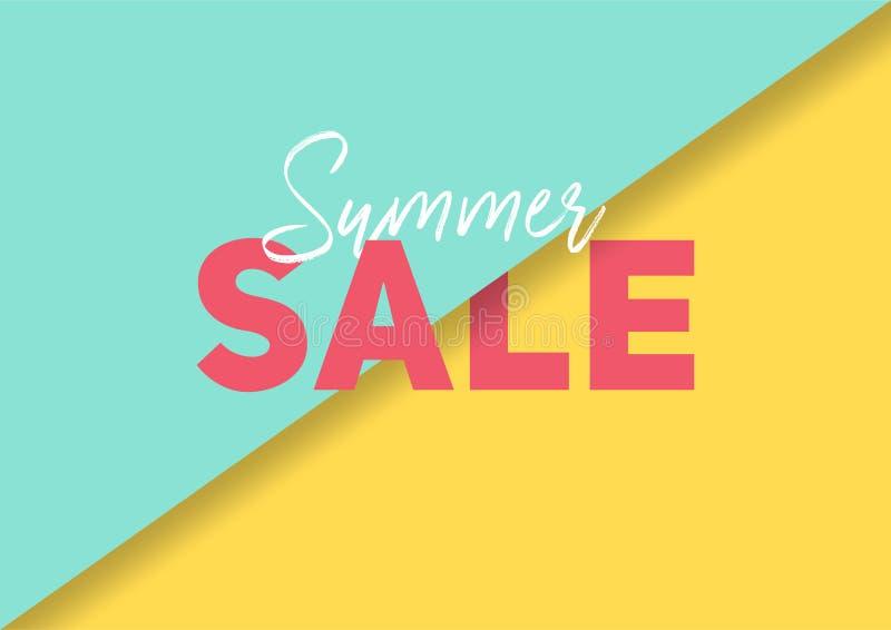 Bandera de la venta del verano con el papel abstracto cortar el fondo colorido fotografía de archivo