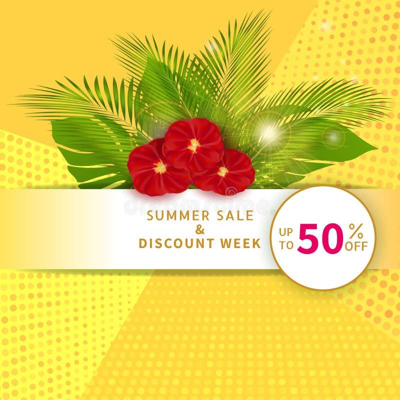 Bandera de la venta del verano con el 50% del texto del descuento, de las hojas de palma y de las flores rojas en fondo amarillo  libre illustration