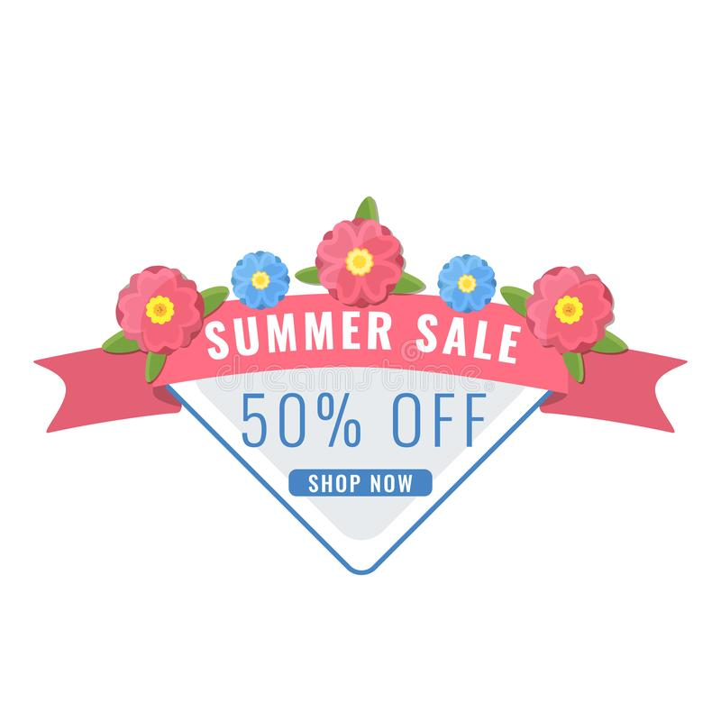 Bandera de la venta del verano con las flores del jardín en el color coralino stock de ilustración