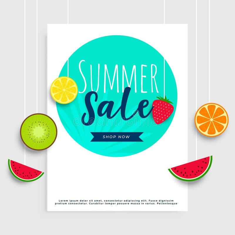 Bandera de la venta del verano con las frutas de la ejecución stock de ilustración