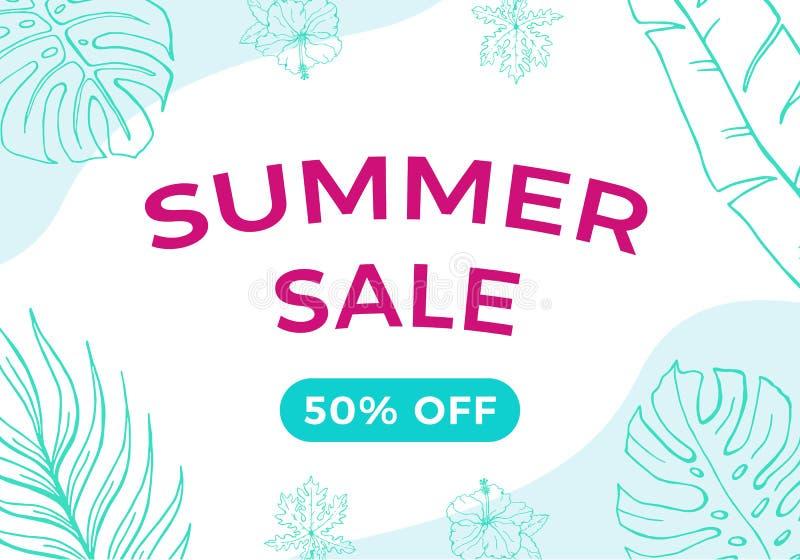 Bandera de la venta del verano con las hojas y el fondo tropicales de las ondas Colores azules y rosados del ejemplo del vector d ilustración del vector