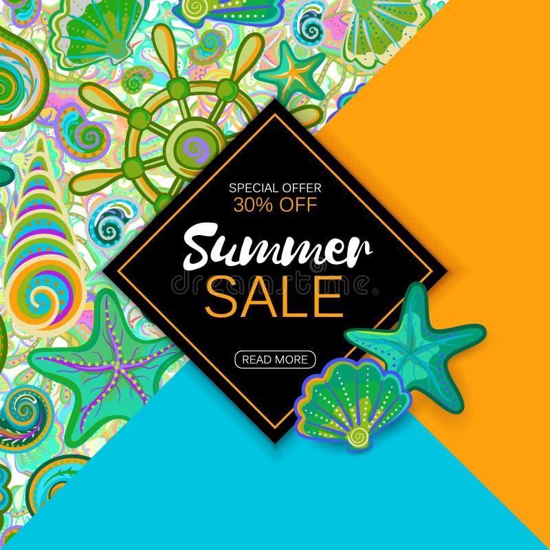 Bandera de la venta del verano con los objetos de la vida marina, diseño brillante Vector EPS 10 stock de ilustración