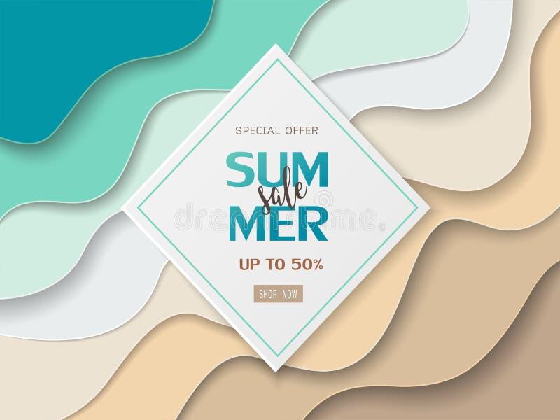 Bandera de la venta del verano en el fondo cortado de papel del mar y de la playa para el diseño de la página web, el aviador, el ilustración del vector