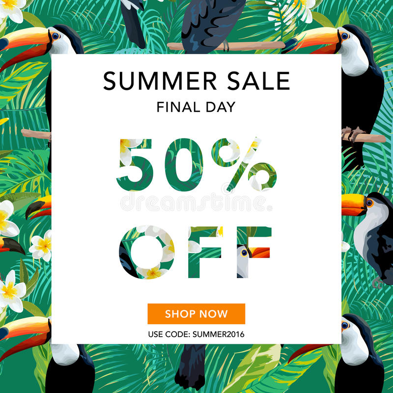 Bandera de la venta del verano Fondo de la venta Pájaros y flores tropicales stock de ilustración