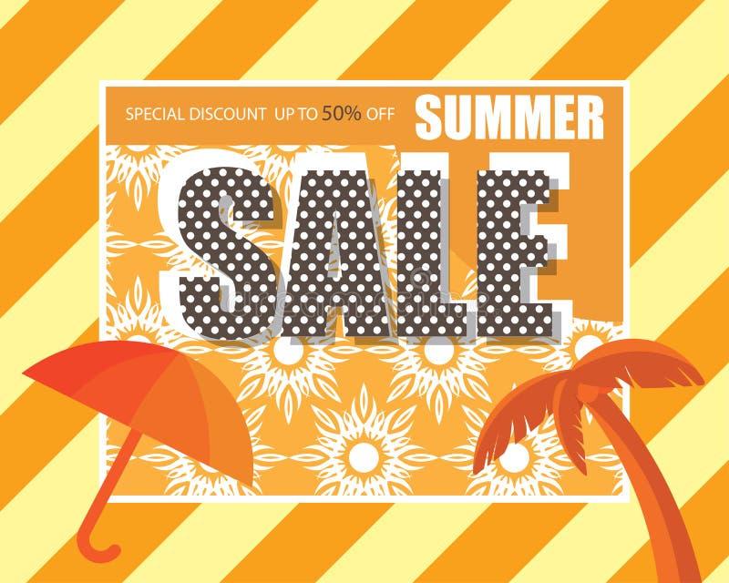 Bandera de la venta del verano, oferta especial en el descuento hasta el 50% apagado stock de ilustración