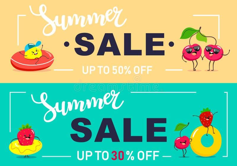 Bandera de la venta de dos veranos con los caracteres brillantes de la fruta, el ideal para el verano y los productos de los niño ilustración del vector