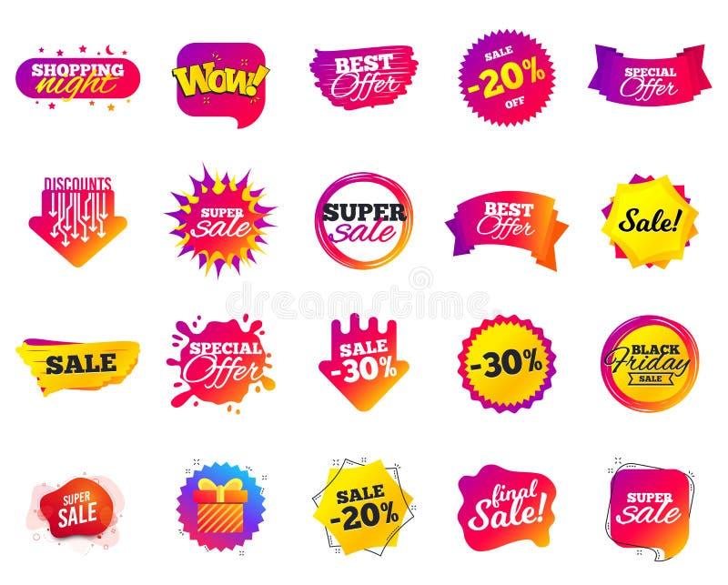 Bandera de la venta Etiquetas de la plantilla de la oferta especial Descuentos cibernéticos de la venta de lunes Iconos negros de libre illustration