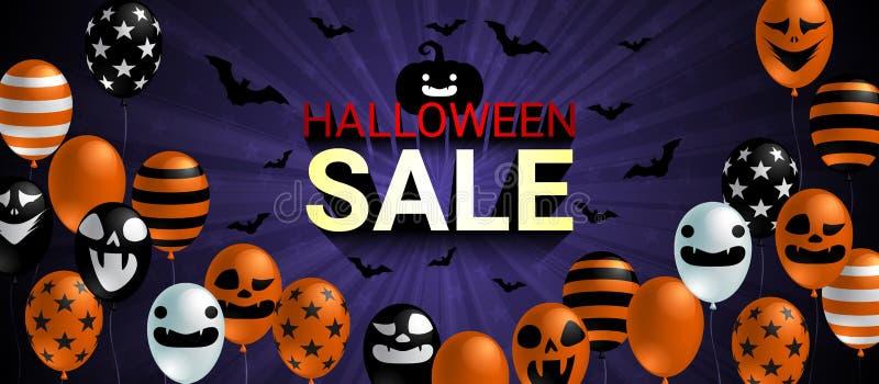 Bandera de la venta de Halloween con concepto asustadizo de la celebración de Halloween del globo stock de ilustración