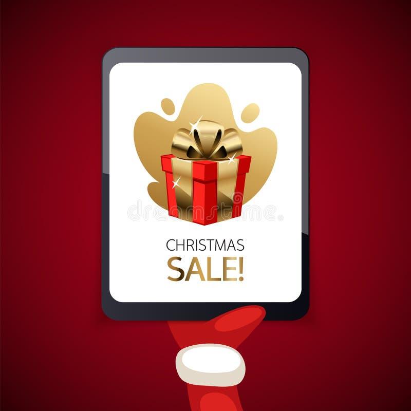 Bandera de la venta de la Navidad con la tableta ilustración del vector