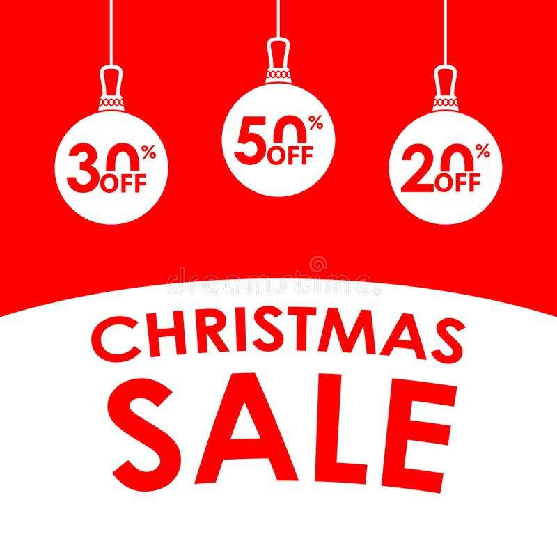 Bandera de la venta de la Navidad Plantilla del diseño de la venta y del descuento de Navidad con las bolas de la Navidad y 20, 3 fotos de archivo libres de regalías