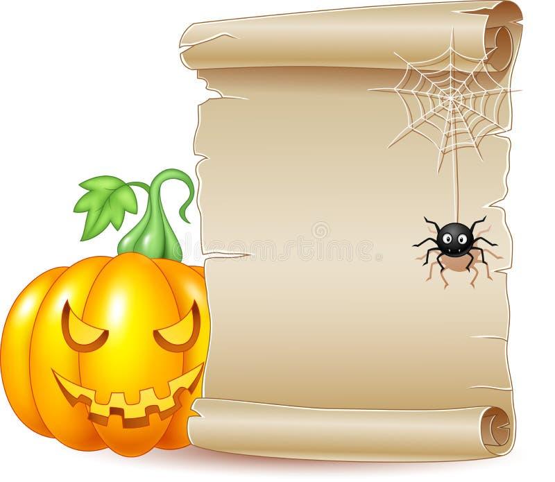 Bandera de la voluta de Halloween con la calabaza y la araña asustadizas ilustración del vector
