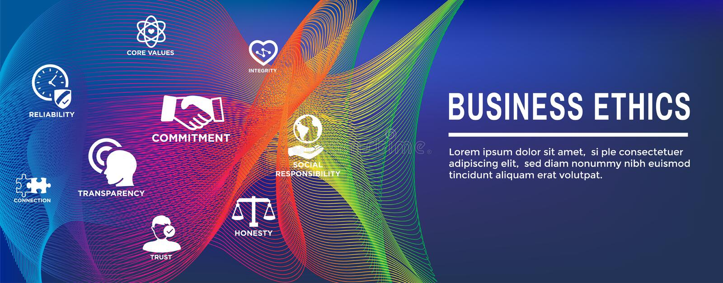 Bandera de la web de la ética empresarial y sistema del icono con honradez, integridad, el compromiso, y la decisión stock de ilustración
