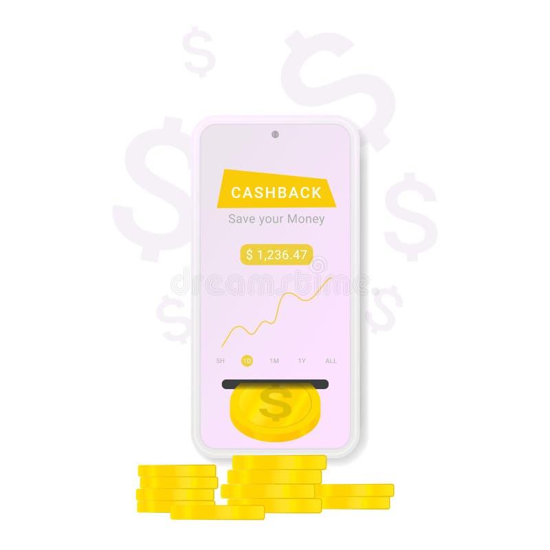 Bandera de la web con el icono del cashback en el fondo blanco ilustración del vector