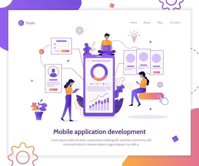 Bandera de la web del desarrollo del App ilustración del vector