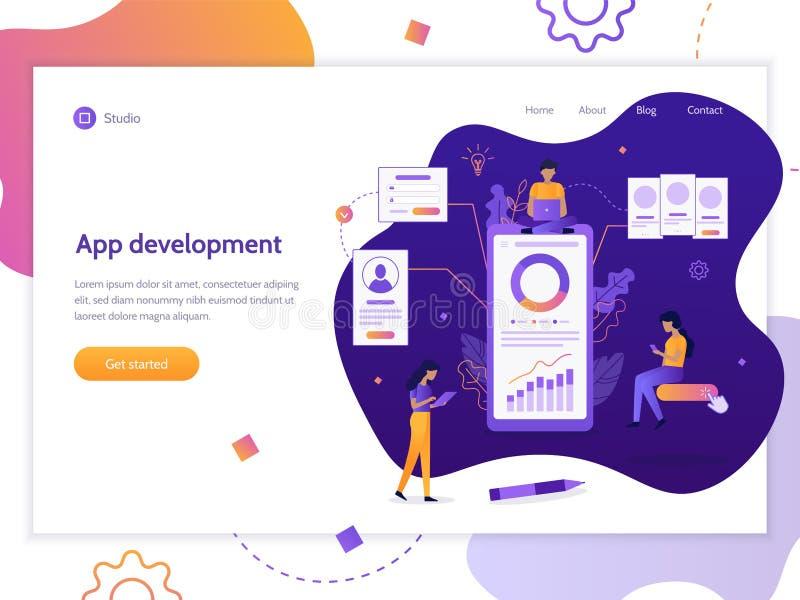 Bandera de la web del desarrollo del App libre illustration