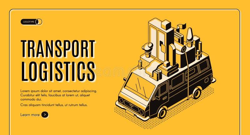 Bandera de la web del vector del servicio de la logística del transporte ilustración del vector