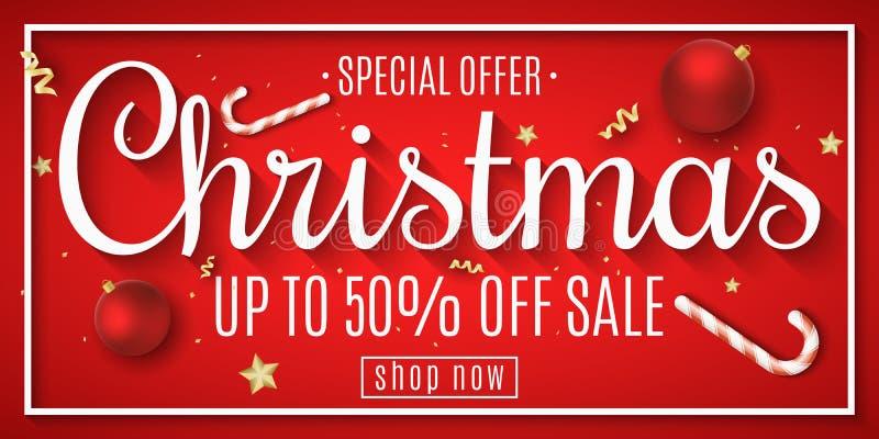 Bandera de la web de la Navidad en venta Bolas rojas Confeti y serpentina Estrellas y piruletas de oro Juguetes en el tablero Ofe stock de ilustración
