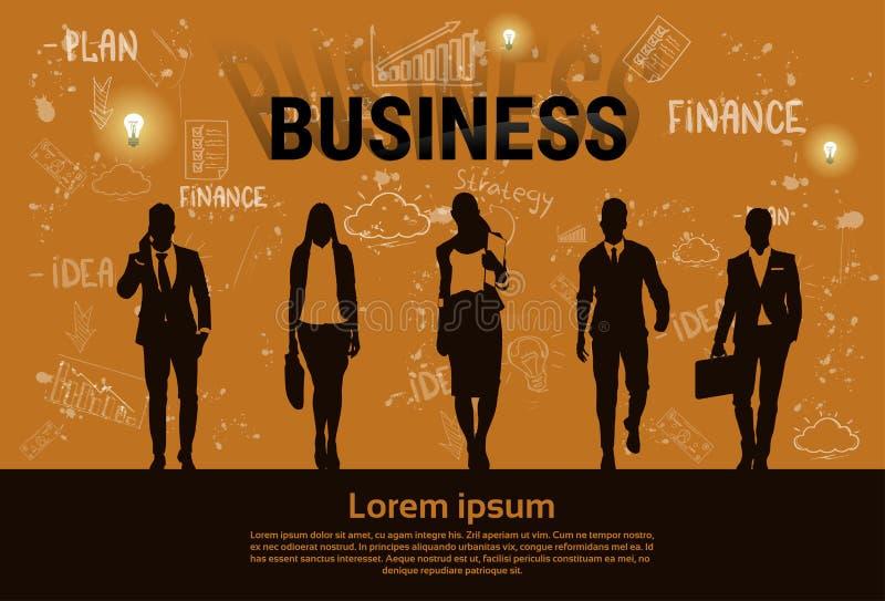 Bandera de lanzamiento del desarrollo de Team Teamwork Business Plan Concept del grupo de los empresarios stock de ilustración