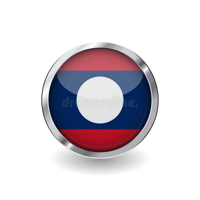 Bandera de Laos, botón con el marco metálico y la sombra icono del vector de la bandera de Laos, insignia con efecto brillante y  stock de ilustración