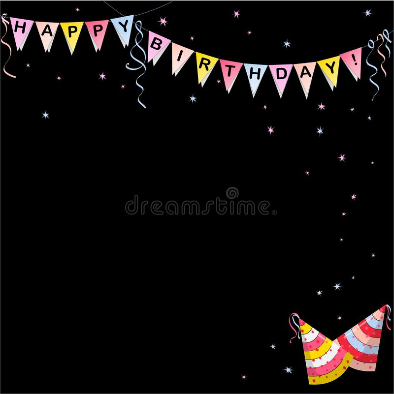 Bandera de las banderas con color de las letras del feliz cumpleaños stock de ilustración