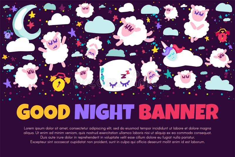 Bandera de las buenas noches con las ovejas planas libre illustration