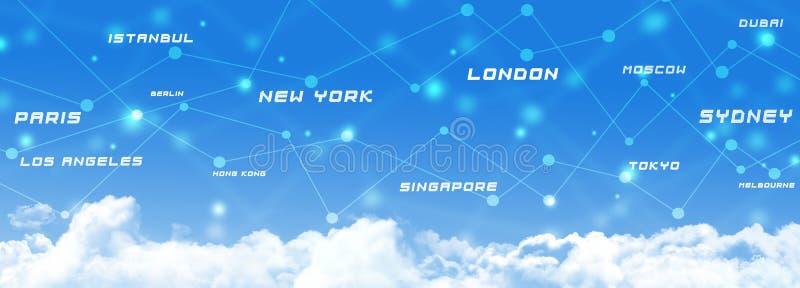 Bandera de las conexiones de transporte de la aviación stock de ilustración