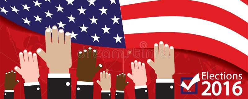 Bandera 2016 de las elecciones stock de ilustración