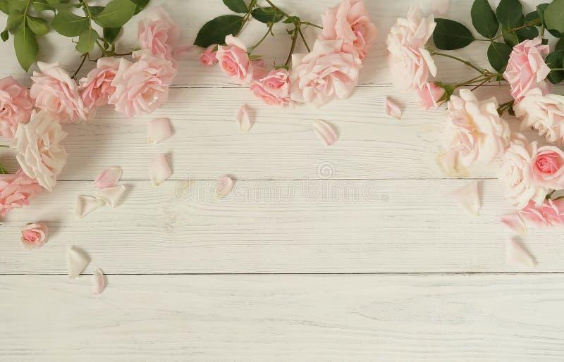 Bandera de las flores Background Ramo de rosas rosadas hermosas en el fondo de madera blanco imagen de archivo libre de regalías