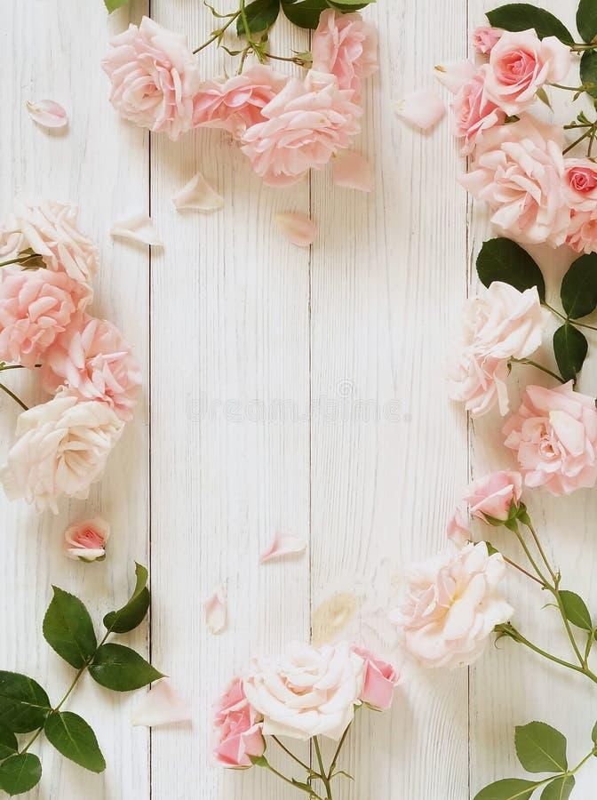 Bandera de las flores Background Ramo de rosas rosadas hermosas en el fondo de madera blanco foto de archivo