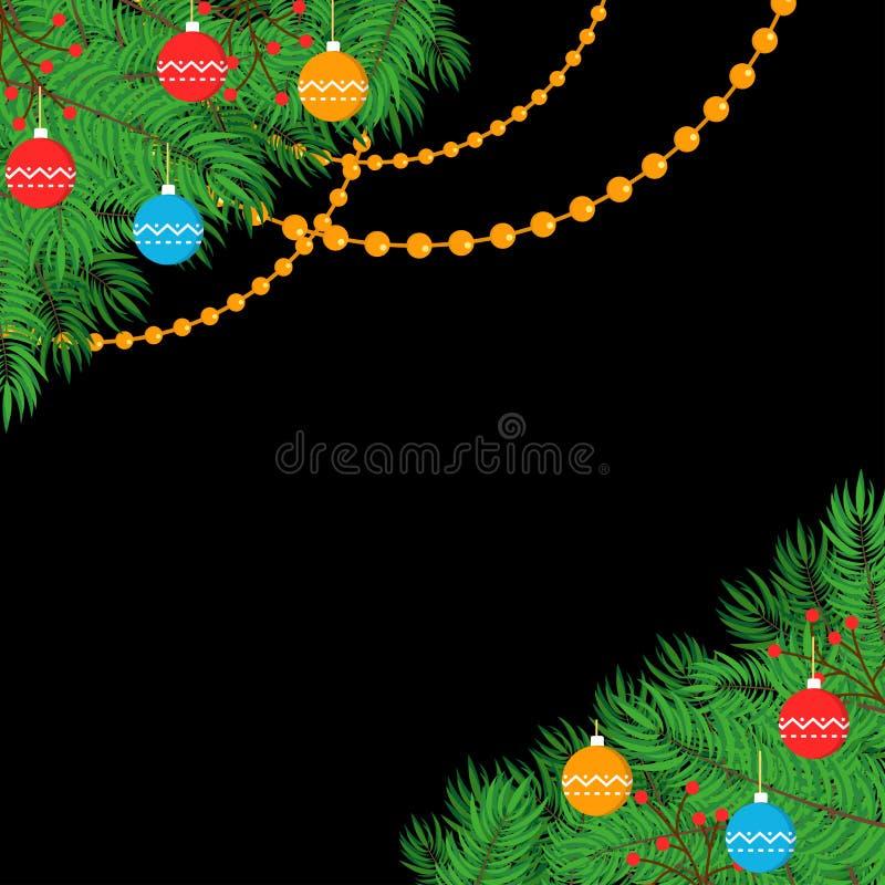 Bandera de las hojas de la Navidad y de las chucherías de la decoración ilustración del vector